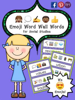 Emojis Word Wall Words (For Social Studies) **23 Pages*** Make Predictions* Higher Level Thinking* Use fun emojis in your classroom!Use emojis in your Social Studies teaching! These fun word wall words teach the meaning of words with little pictures that are so popular!This package includes:     40 Social Studies content words (emoji word and English)     12 Teaching Tips to use them in YOUR classroom!