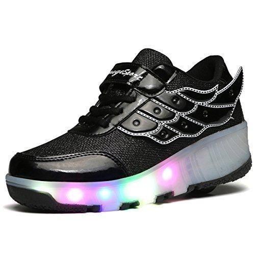 Oferta: 38.99€ Dto: -32%. Comprar Ofertas de Kischers Zapatillas de Ruedas Sola Ronda Skate Zapatos con Luces Led para Unisex Niños Niñas (36, Negro) barato. ¡Mira las ofertas!