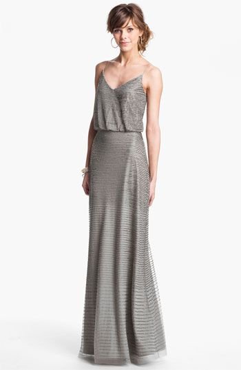 Adrianna Papell Embellished Blouson Mesh Gown