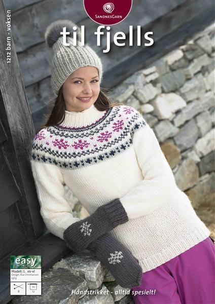 1212: Modell 1 Genser, lue og votter #strikk #fjells