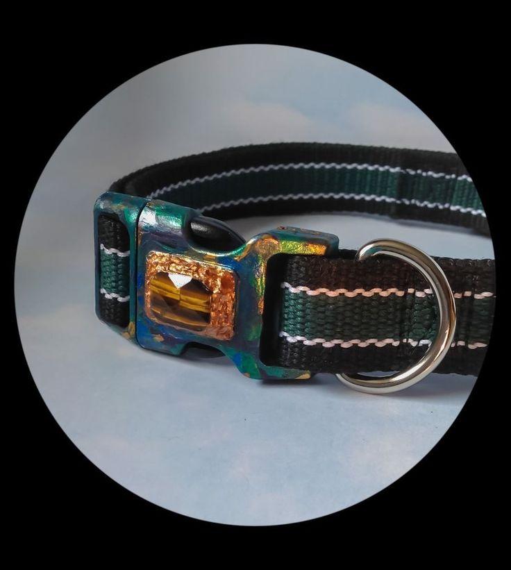 Green & Black Dog collar. Genuine Tiger's Eye Gemstone. Hand-painted Buckle. | eBay
