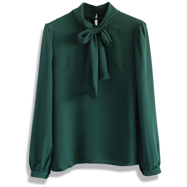 Chicwish Take a Bow Blouse in Evergreen (€32) ❤ liked on Polyvore featuring tops, blouses, green, tie blouse, bow neck top, green blouse, bow tie neck blouse and bow top