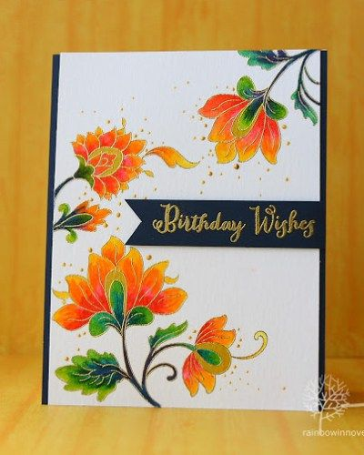 We love the vibrant colors and the sparks of gold in this cheerful card! www.altenew.com