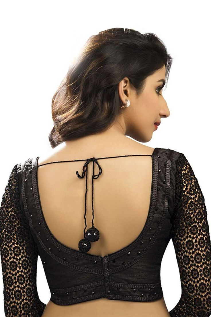 #Black raw silk & crochet #trendy #blouse with sweetheart neck -BL612