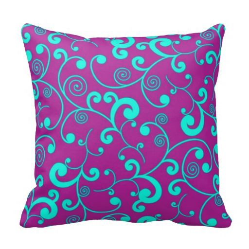 Eggplant Purple Throw Pillows : Eggplant and Aqua Blue Scroll Pattern Throw Pillow #purple Eggplant and aqua colour ...