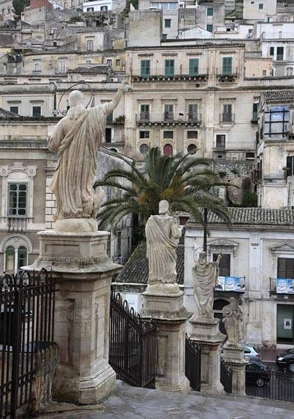 Sicily. View of Modica from the CathedralStatues Along the Steps of San Giorgio Duomo