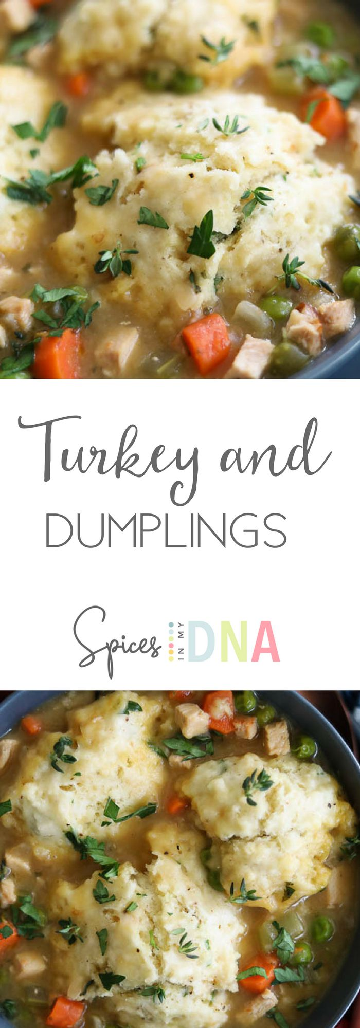 This super comforting turkey and dumplings is perfect to make using your leftover Thanksgiving turkey! The best part: it comes together in about 30 minutes!