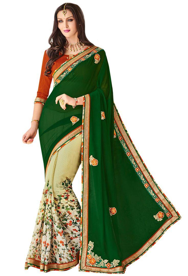 #Green,Offwhite Georgette Half N #Half #Saree #nikvik  #usa #designer #australia #canada #freeshipping #dress #saris
