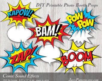DIY Comic Sound Effects printable photo booth props, comic book style speech bubbles PP003 instant download