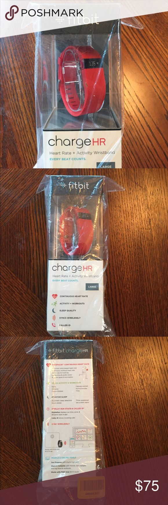 Fitbit Charge HR Fitbit Charge HR (large wristband) in adorable Tangerine color. New!!!     *Only taken out to try on and was too large for my wrist.* Fitbit Other