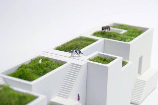 Desktop gardening | ienami is a house shaped planter for your desk #spoontamago