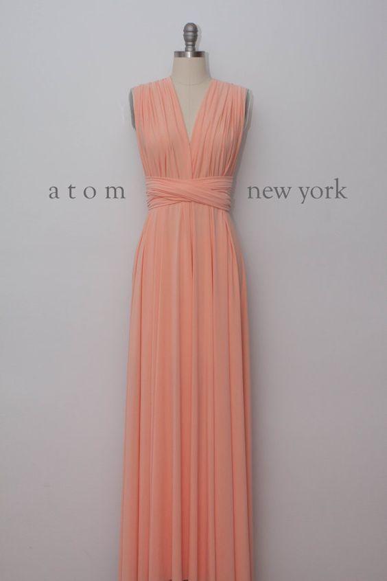 Peach étage longueur robe Infinity Long Maxi robe par AtomAttire