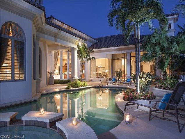 plunge pool and spa at night luxury golf estate home for