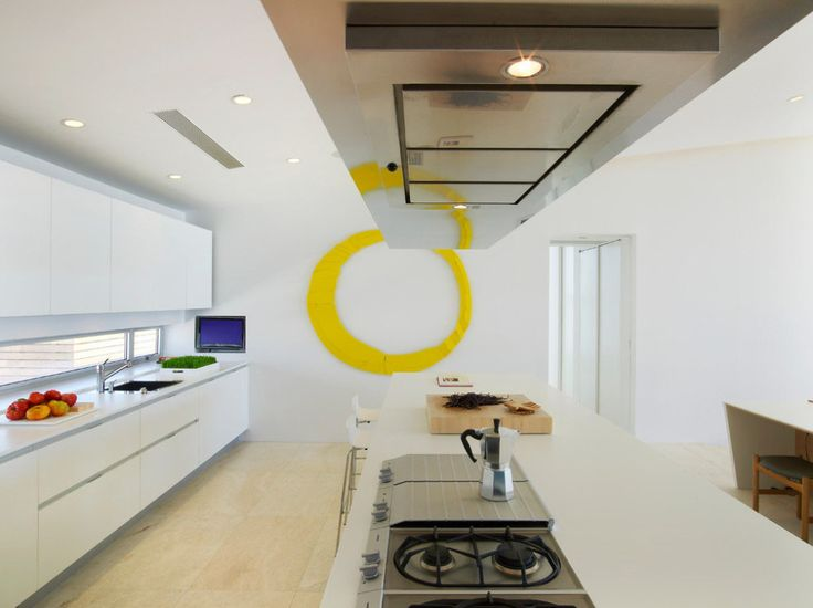Beach House:White Kitchen Island Plus Cabinet Stoves Counter Top Wall Lights Ceiling Sink Coffee Makers Papa Nicholas Silver Beige Flooring ...