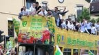 Norwich City celebrating promotion lasts season.