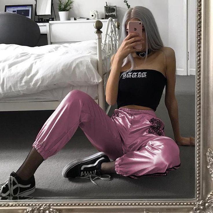 Punk Tiger bestickt rosa Hosen