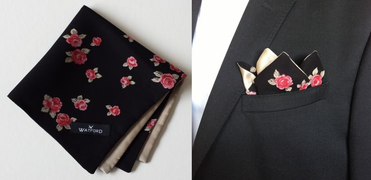 Rose print in Georgette with gold lining - Pocket Square (Double-sided)