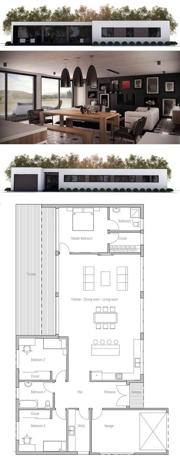 Casa baixa. Mistura de alvenaria e madeira. Planta de Casa