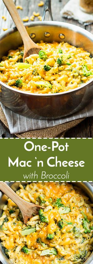 One Pot Mac 'n Cheese with Broccoli | A quick and easy gluten free dinner recipe for mac 'n cheese. It is made in one pot and loaded with broccoli!