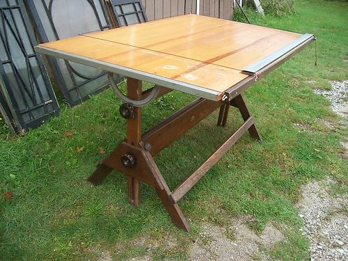 Fine Large Antique Drafting Table Oak Base Iron Anco Bilt New York City  Made | EBay