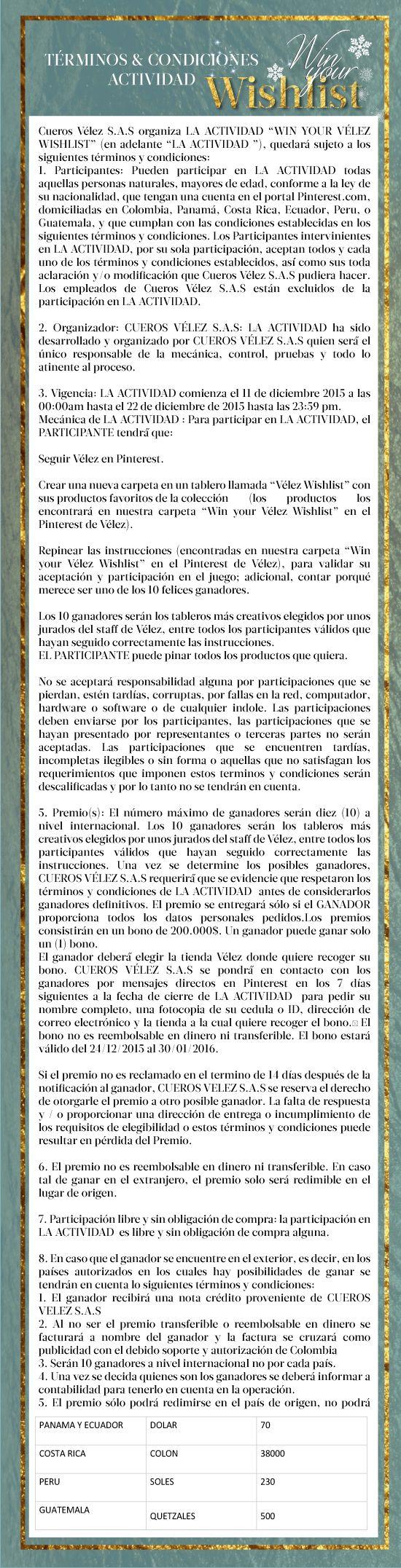 Vélez for Leather Lovers | Wishlist | Términos y condiciones