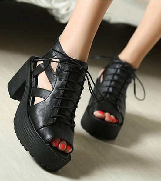 fashion cut outs platform sandals for women 2014 thick high heels black  punk shoes peep toe