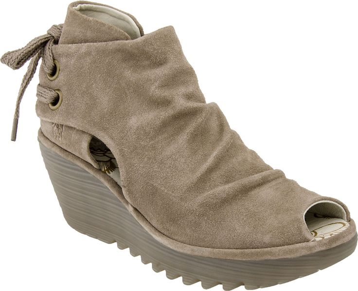 Fly London Yema Peep Toe Bootie in Taupe Suede at PlanetShoes.com. Order Fly London shoes with free shipping & returns! Click or call 1-888-818-7463.