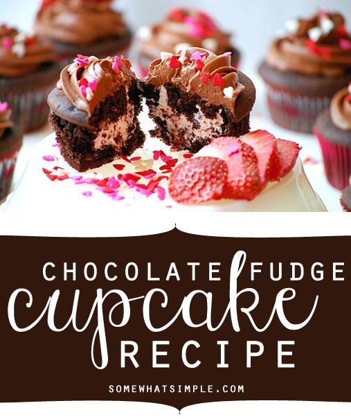 chocolate fudge cupcake recipe. Yummy dessert recipe. Filled cupcake idea.