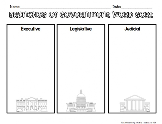 3 branches of government worksheet 7th grade
