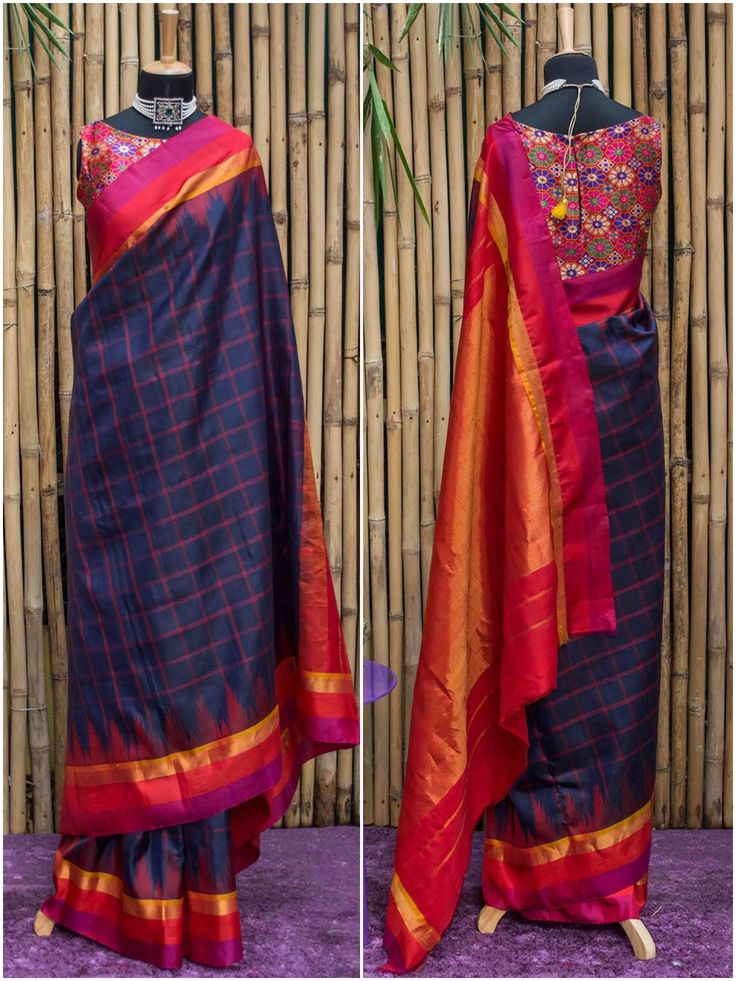 Navy blue Gadwal pure silk with red checks | House Of Blouse