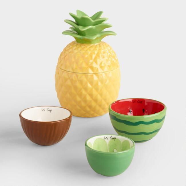Tropical Fruit Ceramic Measuring Cups - v1