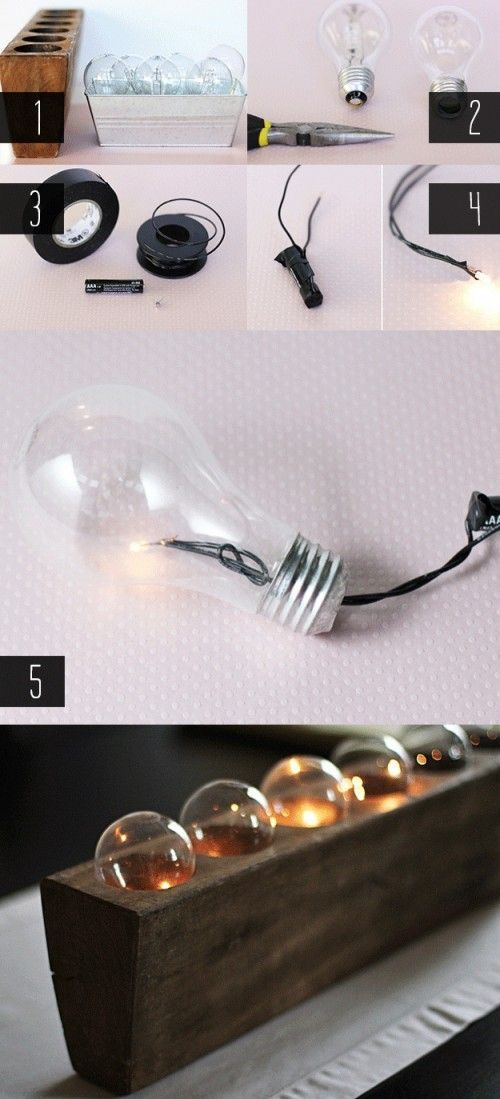 diy upcycled light bulb centrepiece