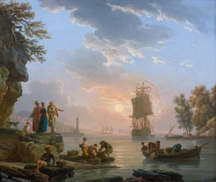 Claude-Joseph Vernet (1714-1789), Orientaux dans une crique au soleil couchant, 1780, huile sur cuivre, 39 x 48 cm.  Adjugé : 559 810 € Vendredi 24 mars, salle 6 - Drouot-Richelieu.  Audap-Mirabaud OVV. Cabinet Turquin, Mme Finaz de Villaine.
