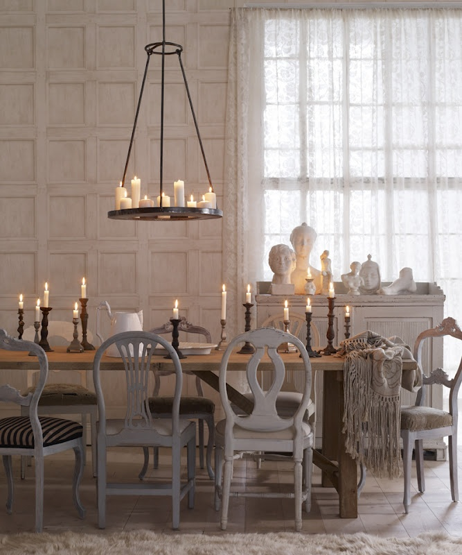 candles and mismatched chairs