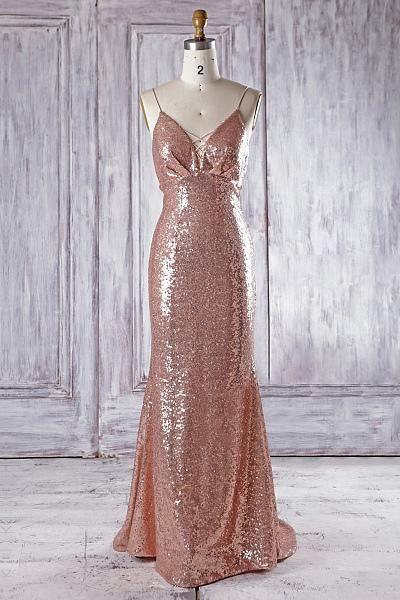 68d734f199 Sexy Rose Gold V Neck Spaghetti Strap Sequin Bridesmaid Dresses Prom Dresses  in 2019