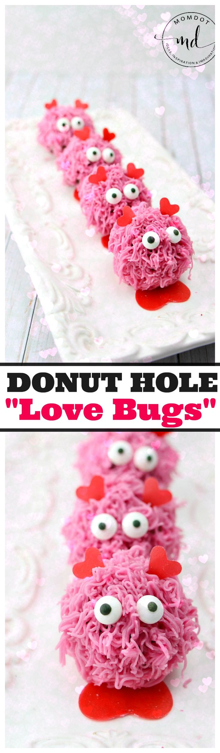 "Easy Donut Hole Recipe with Buttercream frosting, create an adorable Valentines Day ""Love Bug"" of out donut holes, adorable breakfast"