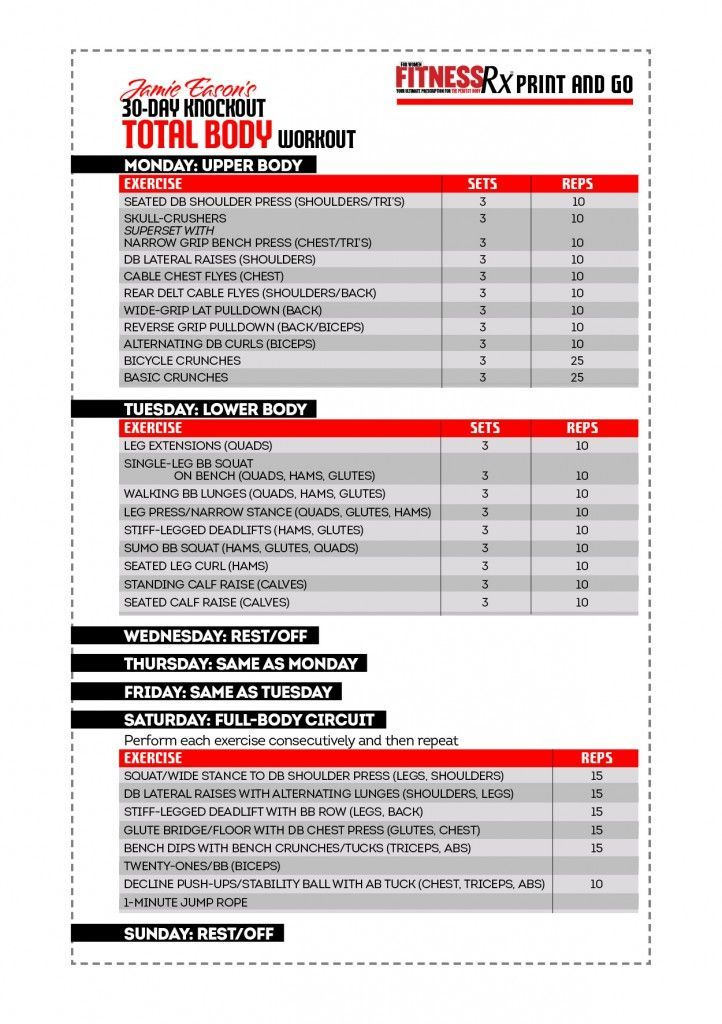Jamie Eason's 30-Day Knockout Total Body Workout: Get a Slim Body For Your Special Occasion. Just print and go!