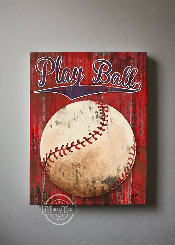 Baseball Art Sports Nursery Canvas Art   Baseball by MuralMAX, $65.00