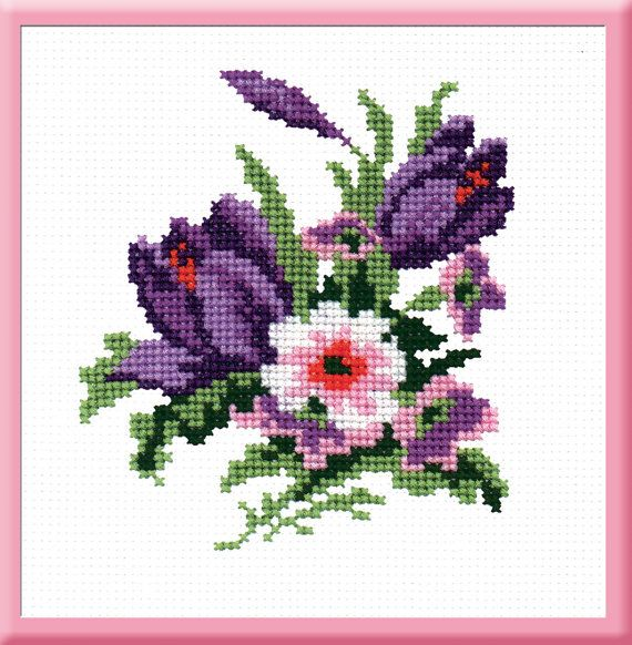 Crocuses - Counted Cross Stitch Kit with Color Symbolic Scheme bst:357