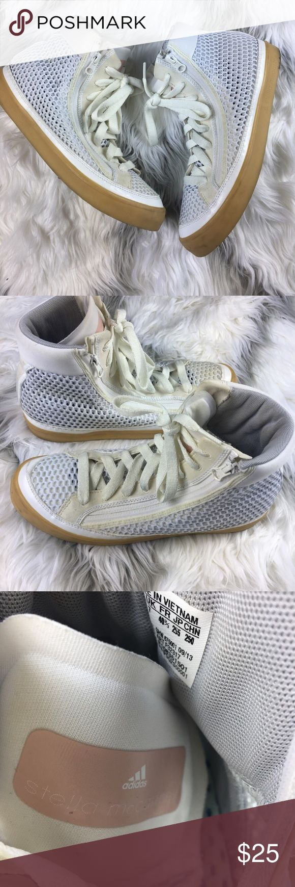 Adias x Stella McCartney Hightop Sneakers. Adias x Stella McCartney Hightop Sneakers. Size 8.5. Mesh detailing. Cute and funky. These are a re-posh. They didn't end up fitting me :(. Adidas by Stella McCartney Shoes Sneakers