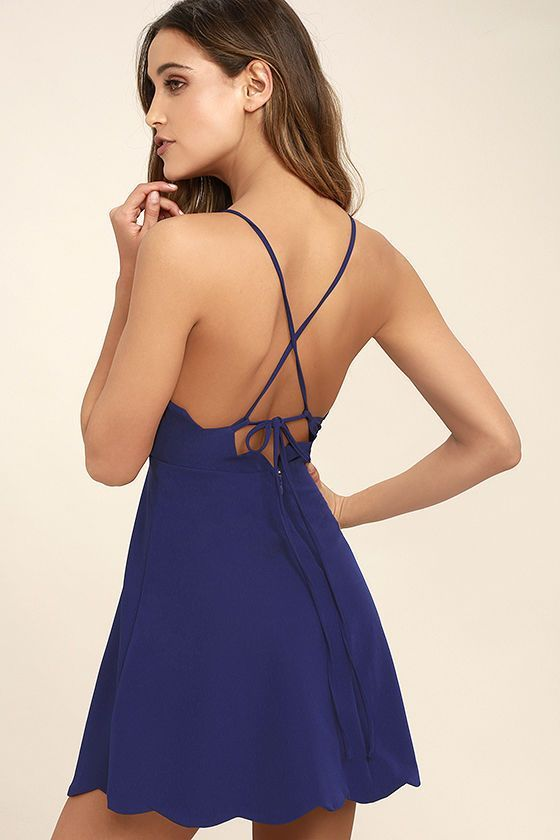 The perfect skater dress is every stylish girl's must-have, and the Play On Curves Royal Blue Backless Dress is one you'll cherish forever! Skinny straps support a high rounded neckline as they crisscross and tie over an alluring open back with scalloped trim. The lightweight, woven bodice has princess seams that travel to a fitted waist, above the flaring skirt (with more scalloped detail!). Hidden back zipper/clasp.