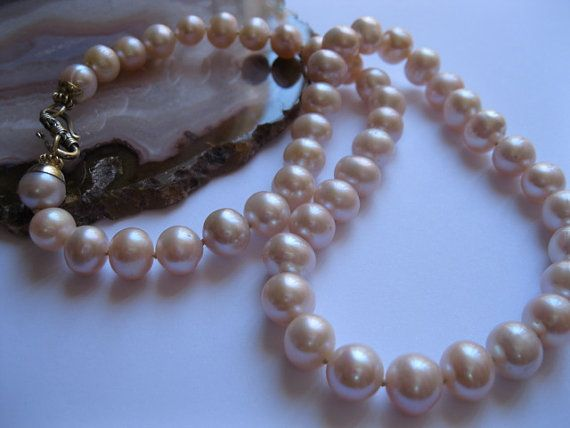 Classical Pink 8mm Pearl Necklace with Gold by JulleenJewels