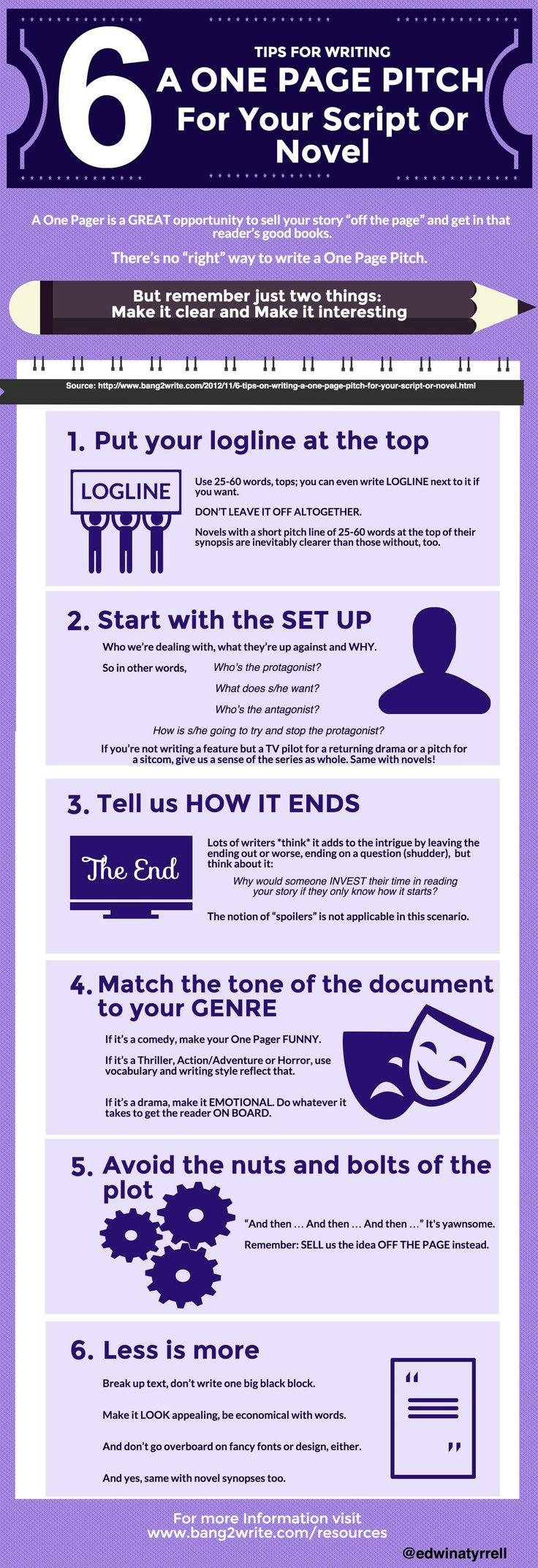 script writing tips Film script writing is an art-form, and creating art is never easy every time you watch a tv show, a film, or play a computer game, you're taking in the work of a scriptwriter.