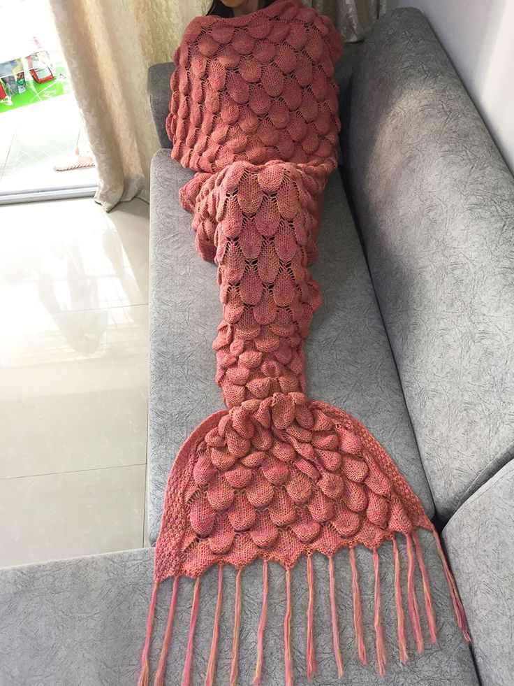 FEESHOW Handcrafted Knitted Mermaid Tail Living Room Blanket Sofa Throw Couch Sleeping Bag for Kids Adult Teens (Coral, Adult Size)