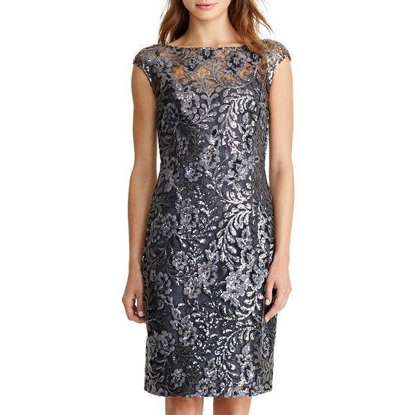 Lauren Ralph Lauren Floral Sequin Dress, Black/Silver ($305) ❤ liked on Polyvore featuring dresses, long-sleeve shift dresses, floral print maxi dress, silver cocktail dress, floral midi dress and long-sleeve floral dresses