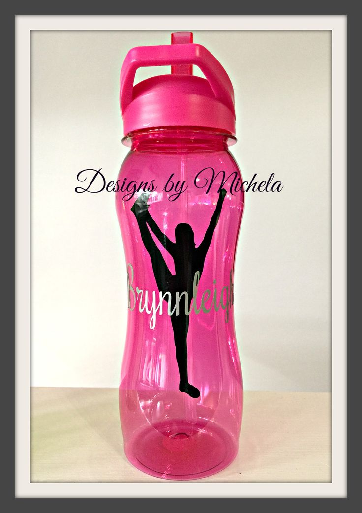 BPA Free 25oz Monogrammable Competition Cheerleader Sports Bottle with Straw & flip close nozzle.Cheerleader (no pom poms :-) in black & name in silve