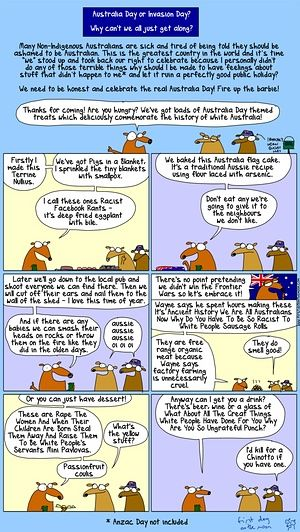 First Dog on the Moon Australia Day cartoon.  - Very interesting second last box - Sounds very much like the dairy industry to me.