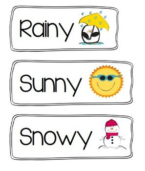 Weather signs for circle time or whenever you may discuss the weather outside. Great for Pre-K and Kindergarten. Graphics from mycutegraphics.com.