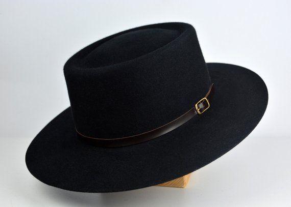 Bolero Hat The Voodoo Black Vaquero Crown Wide Brim Hat Etsy Wide Brim Hat Men Hats For Men Bolero Hat