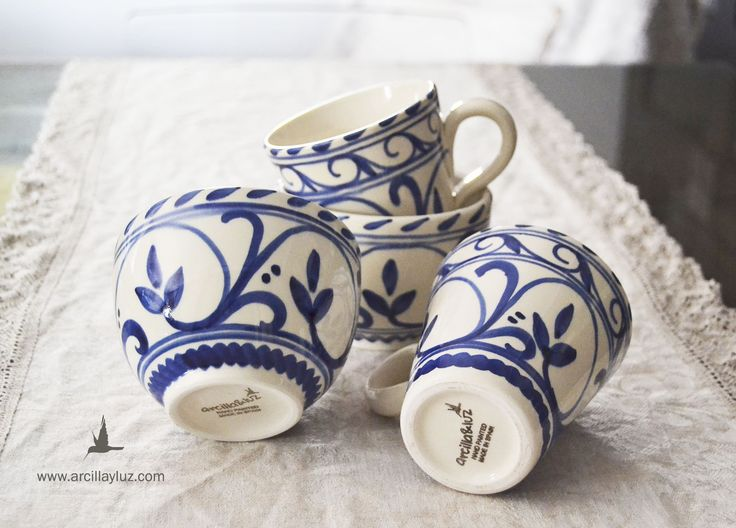pack grecia29 ceramica pintada a mano hecha en España. www.arcillayluz.com